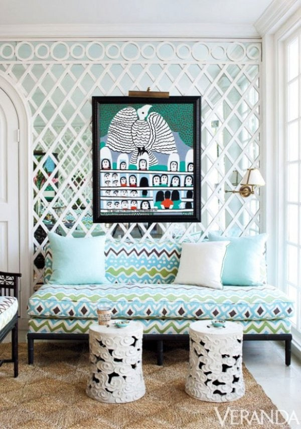 Blue and white room with mirrored trellis via @thouswellblog