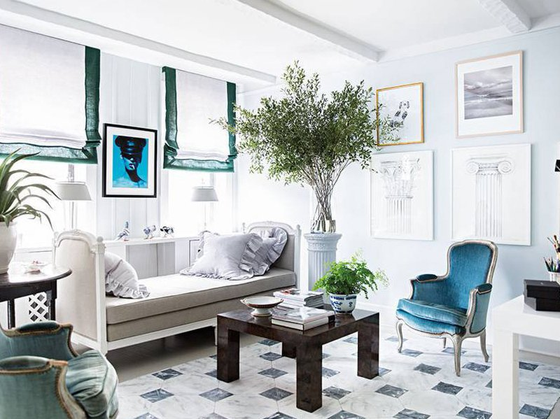 Pale blue and green Gustavian living room in a Manhattan apartment via @thouswellblog