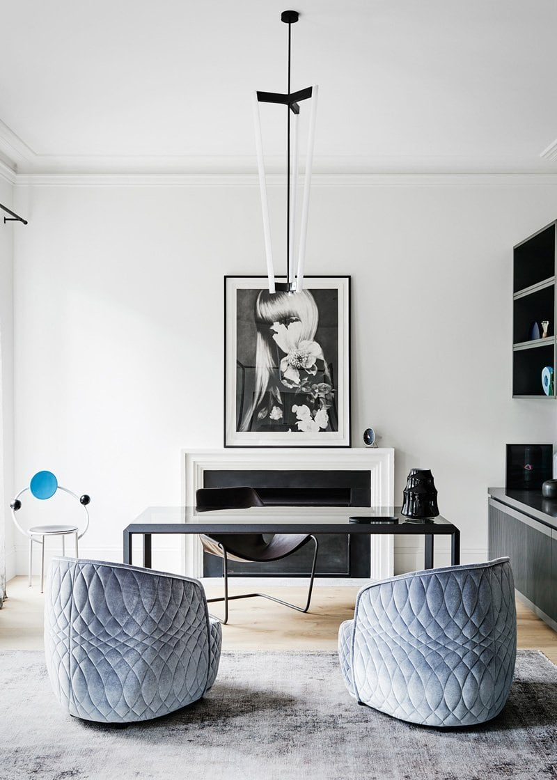 Powder blue armchairs in a luxury home office via @thouswellblog