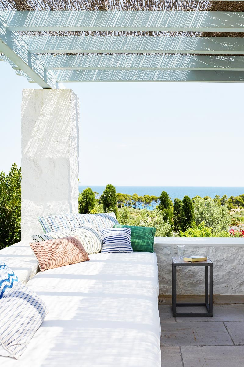 Covered terrace of a Mediterranean villa overlooking the ocean via @thouswellblog