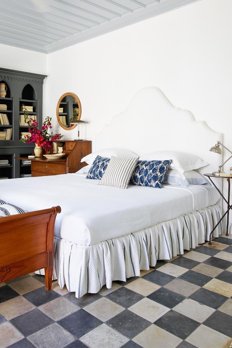 Eclectic bedroom with checkered floor via @thouswellblog
