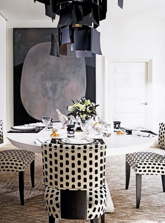 Black and white dining room with spotted chairs by Albert Pinto via @thouswellblog