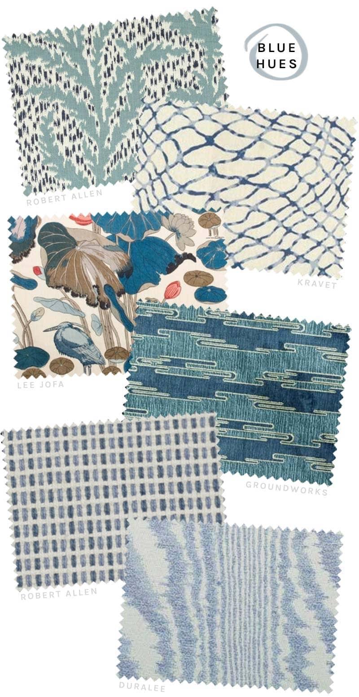 Blue designer fabrics from DecoratorsBest on @thouswellblog