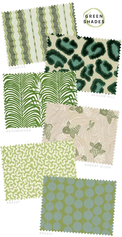 Green designer fabrics from DecoratorsBest on @thouswellblog