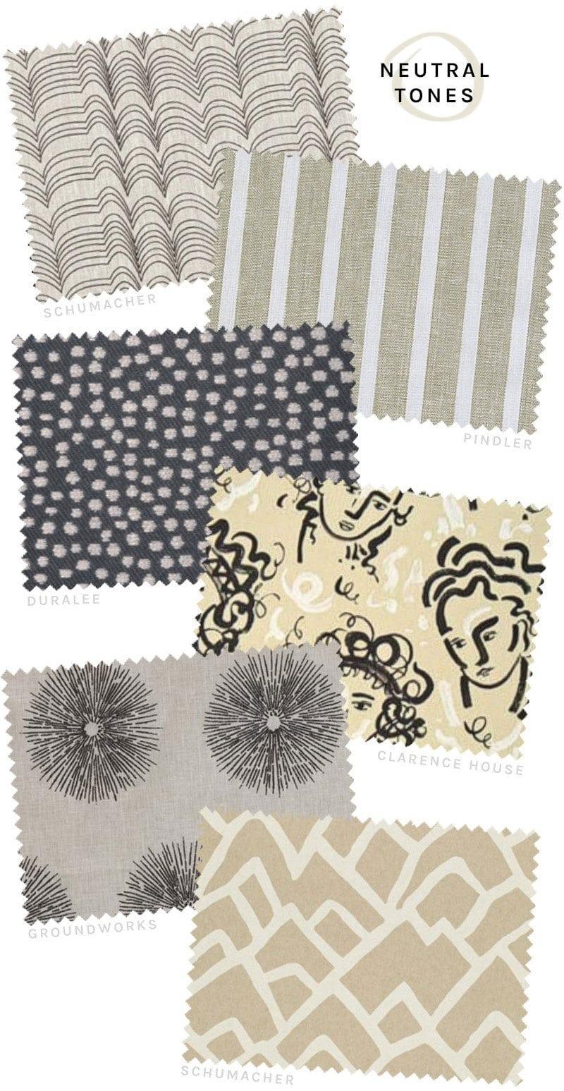 Grey, tan, black, and white neutral fabrics from DecoratorsBest on @thouswellblog