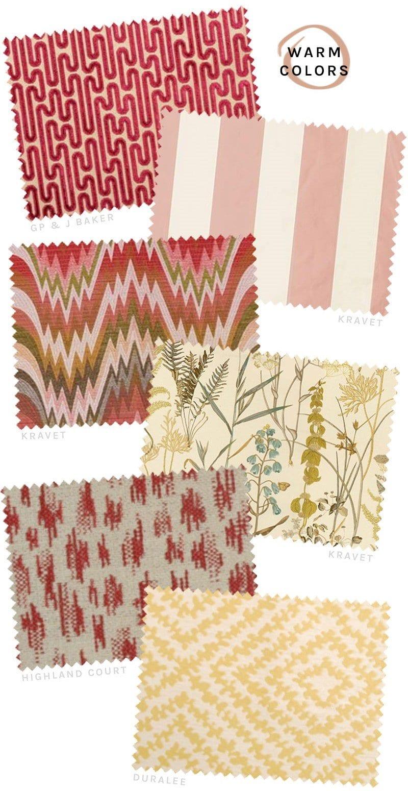 Red, pink, orange and yellow fabrics from DecoratorsBest on @thouswellblog