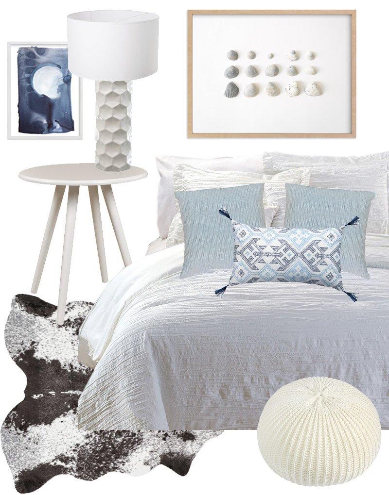 Blue dorm room decor design board via @thouswellblog