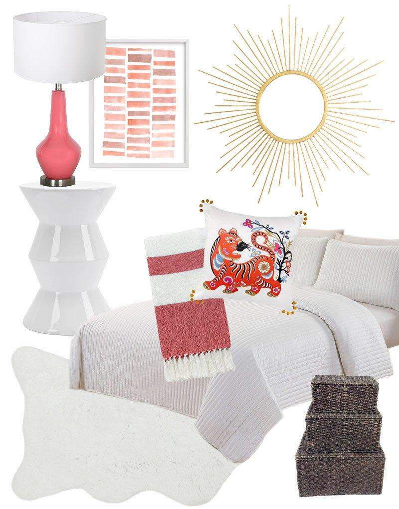 Pink dorm room decor design board via @thouswellblog