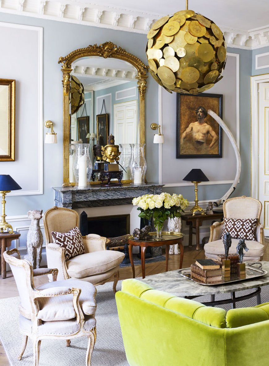 Eclectic living room in a glamorous Paris apartment via @thouswellblog
