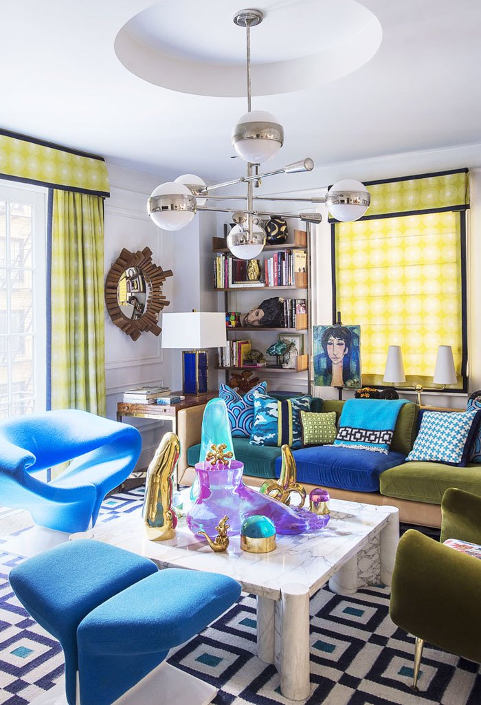 Colorful modern living room design in Jonathan Adler's NYC apartment via @thouswellblog