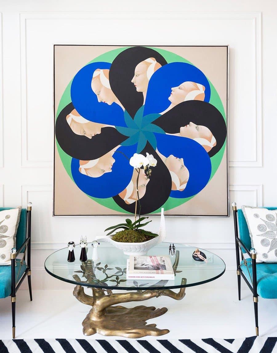 Large modern artwork in Jonathan Adler's dining room on @thouswellblog
