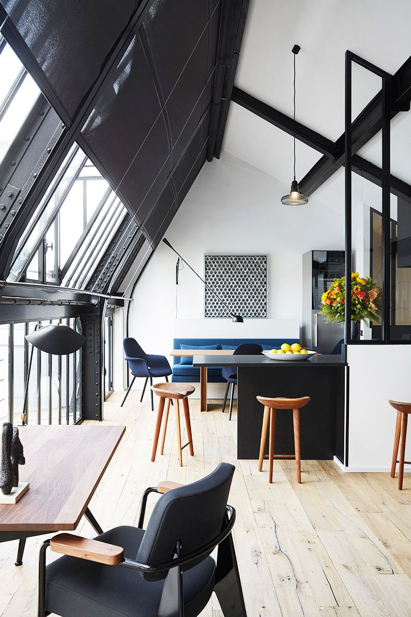 Get the look: industrial modern Parisian loft in the Hotel du Ministere in Paris on @thouswellblog