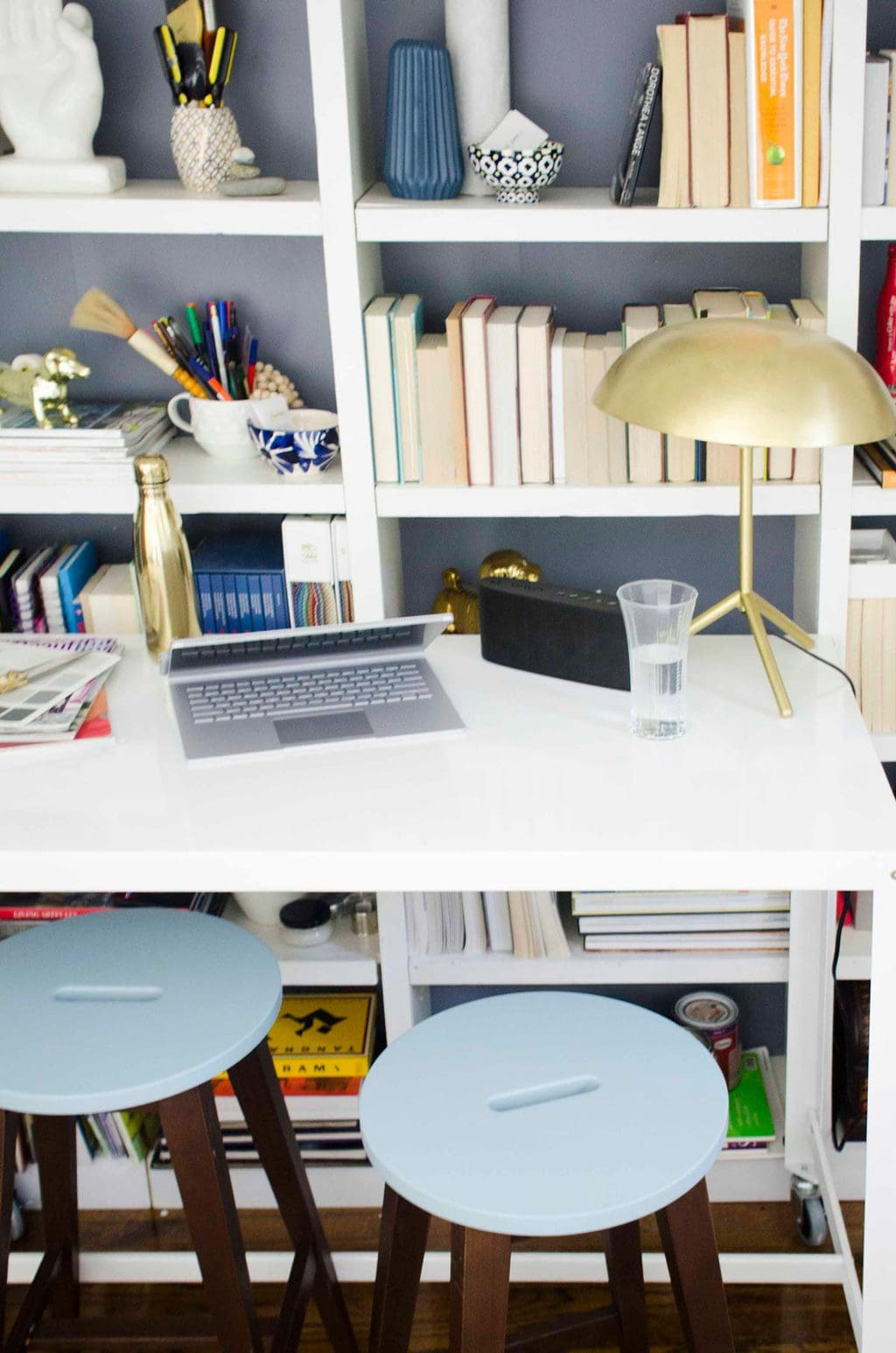 Blue stools from Furniture Maison for a modern standing desk via @thouswellblog