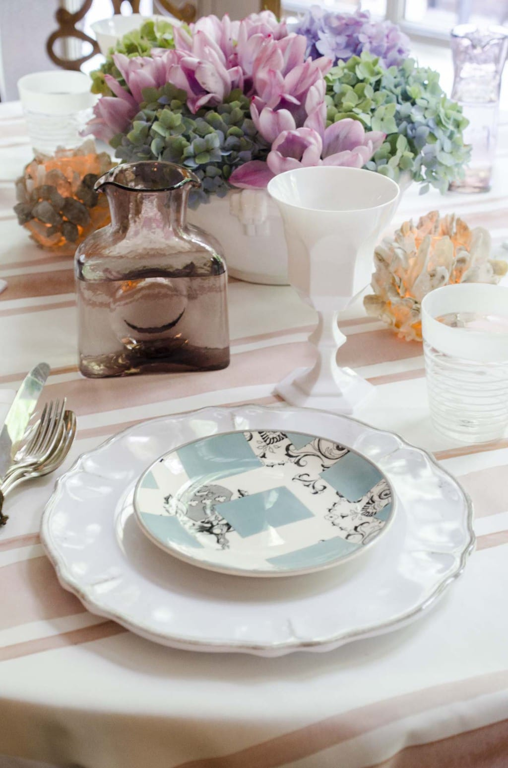 Setting the table with Steve McKenzie, watercolor table setting via @thouswellblog