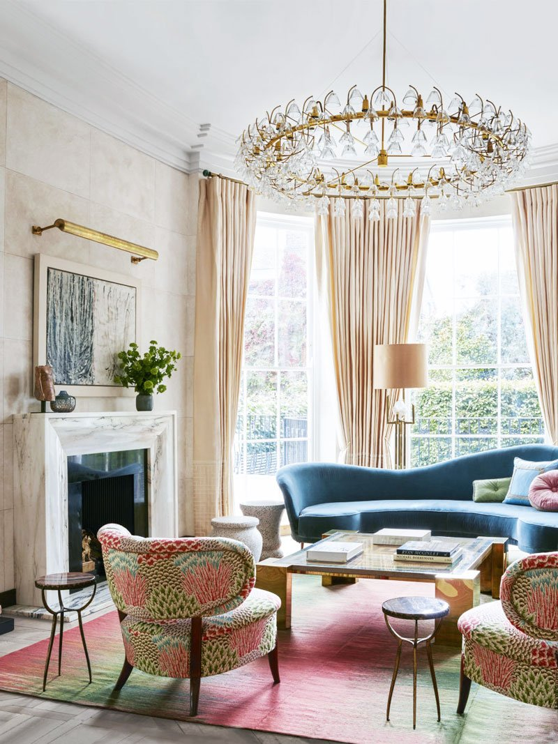 Art deco living room with pink palette in London via @thouswellblog