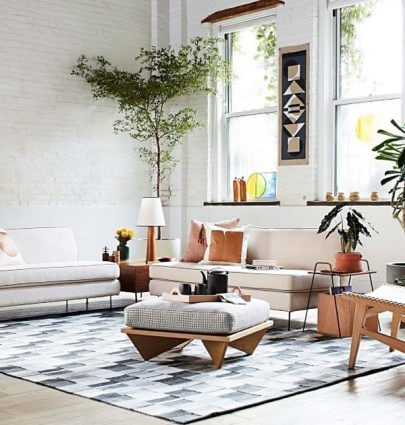 Modern loft living room with armless sofas, Commune design for west elm via @thouswellblog