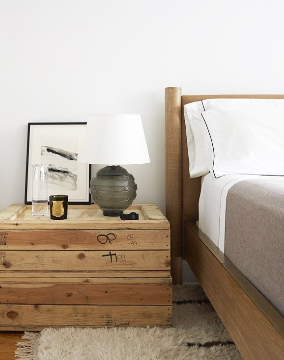 Bedroom with wooden trunk bedside table via @thouswellblog