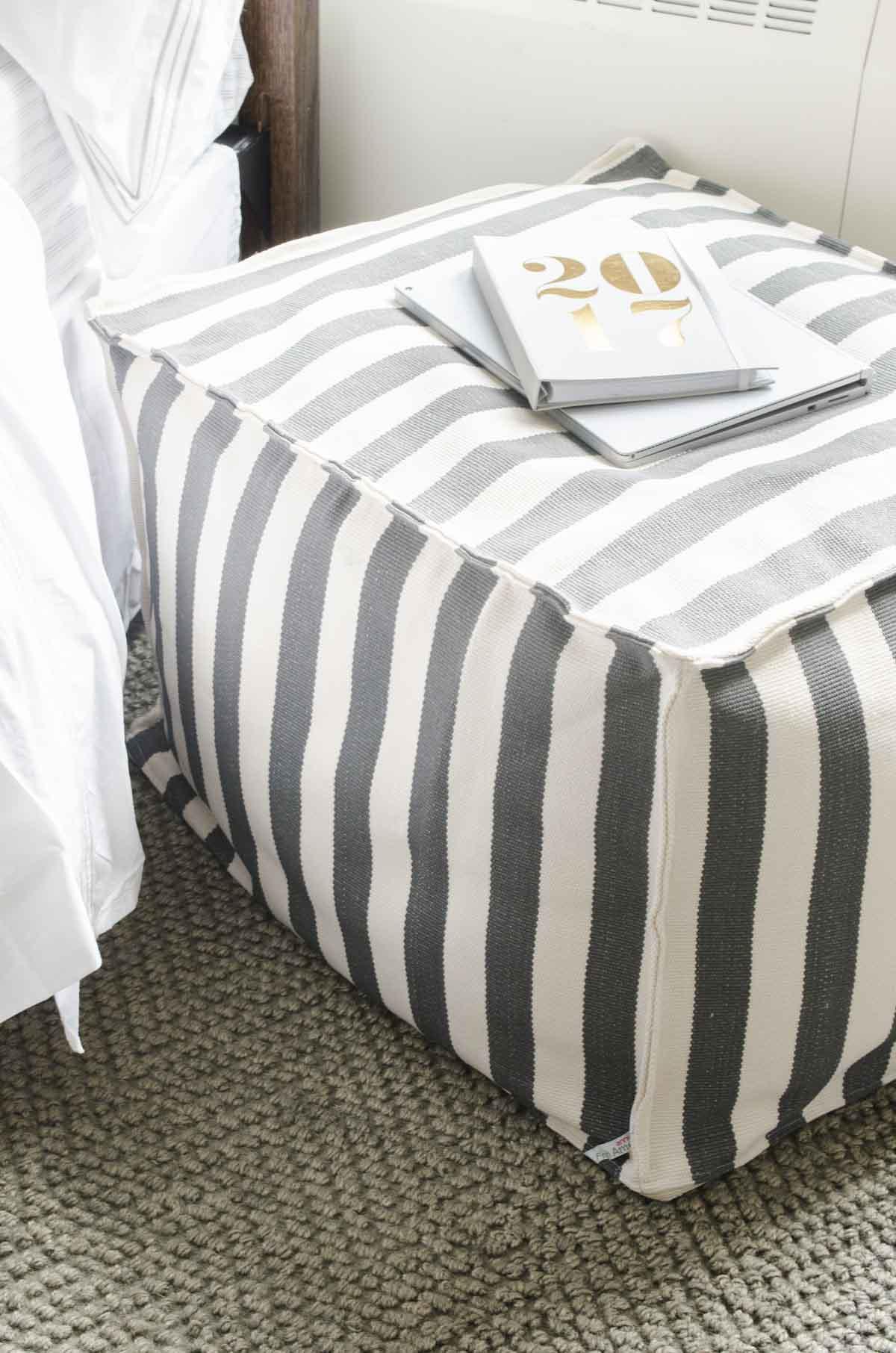 Dorm room decor essentials with bedding, pouf, art prints via @thouswellblog