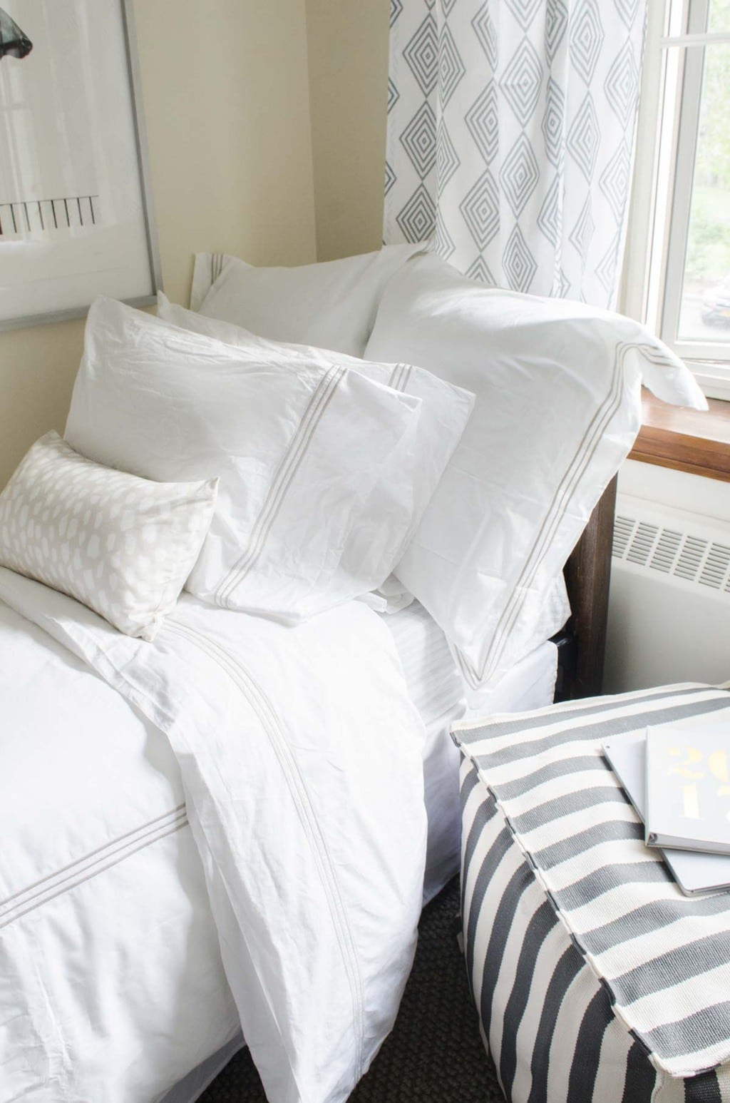 Dorm room decor essentials with bedding, pouf, art prints via @thouswellblog