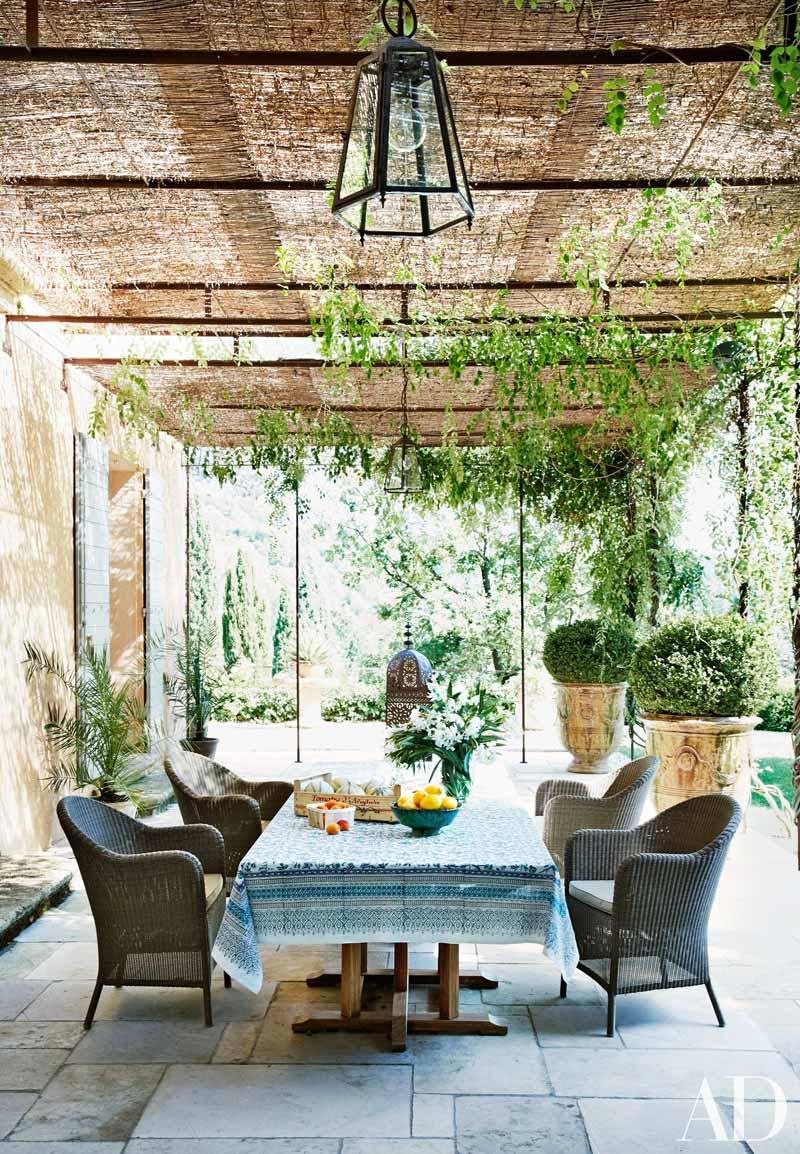 Eclectic rustic covered patio in Provence via @thouswellblog