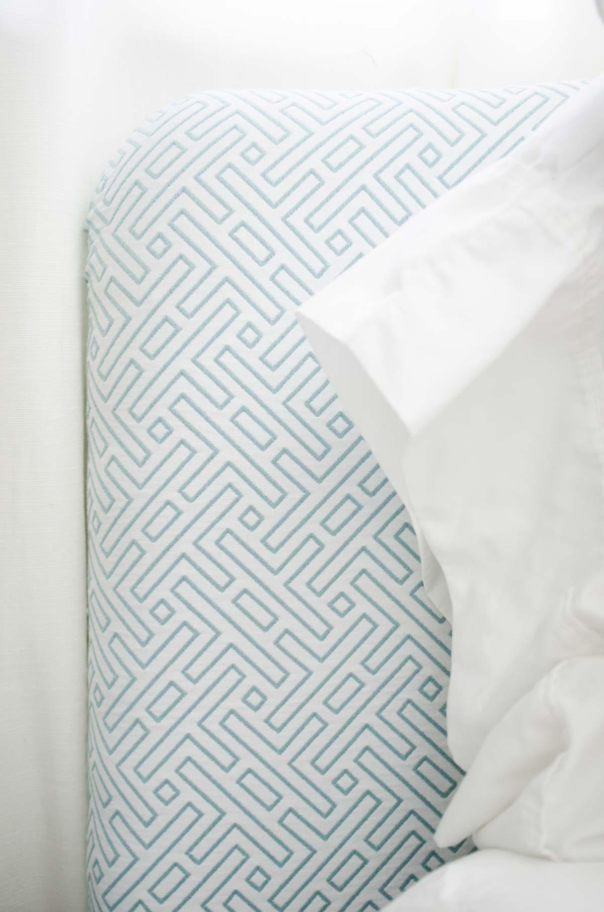 Modern blue and white pattern fabric headboard via @thouswellblog
