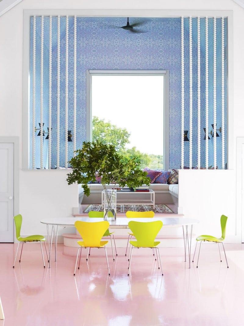 Modern pool house, Moroccan-inspired with pink floors via @thouswellblog
