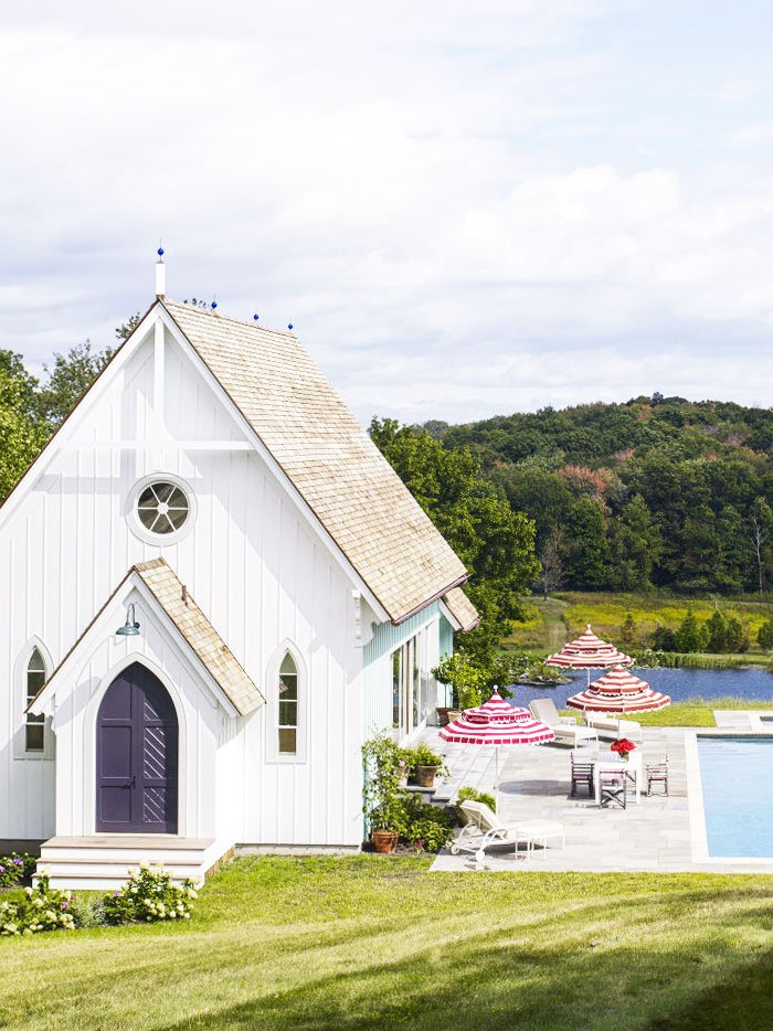 Modern pool house with Gothic architecture via @thouswellblog
