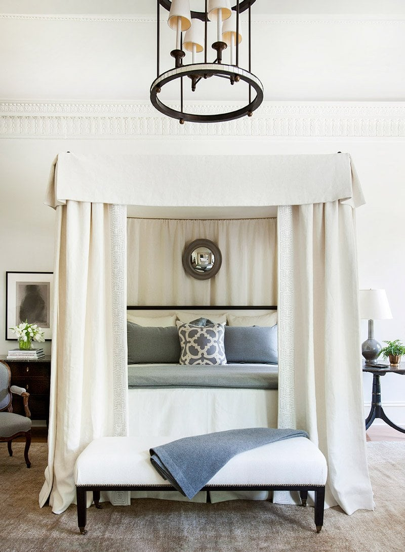 New Southern style, serene blue and white bedroom by Robert Brown via @thouswellblog