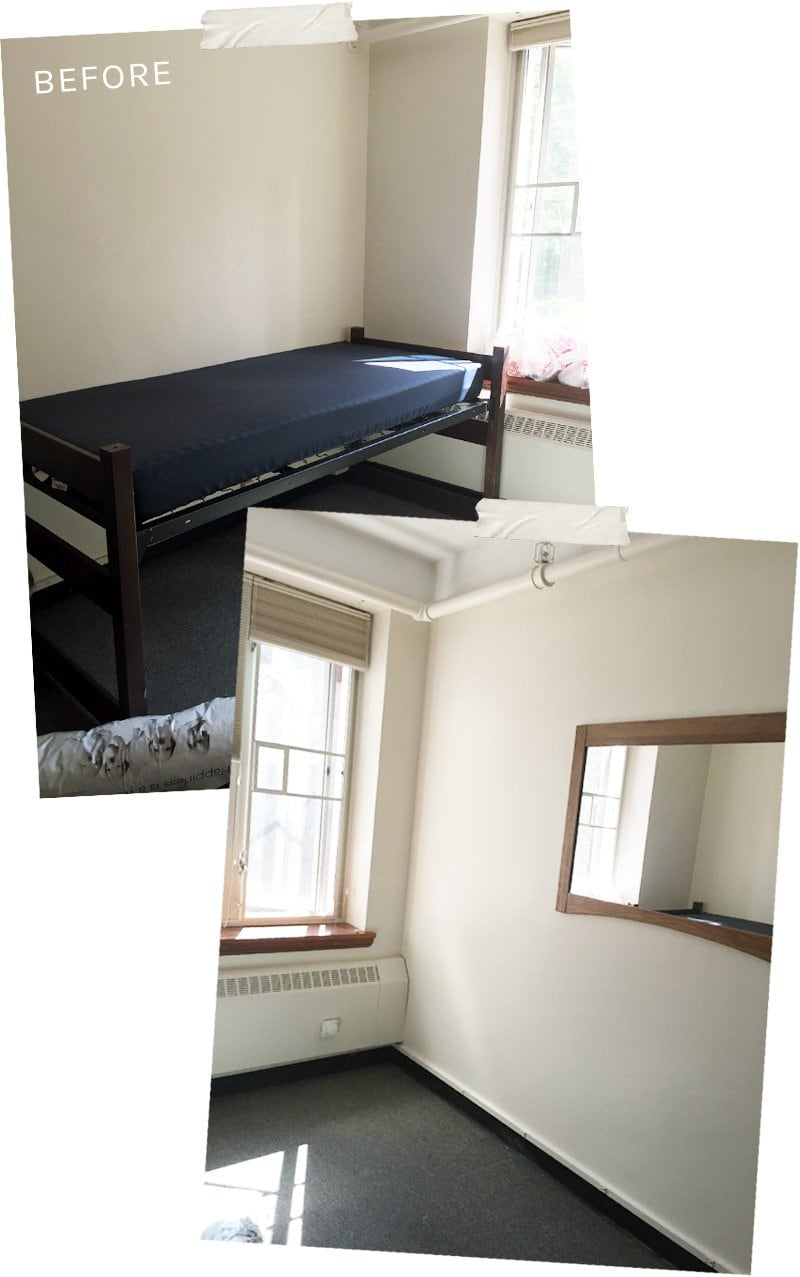 Dorm room decor, before pictures, makeover on @thouswellblog
