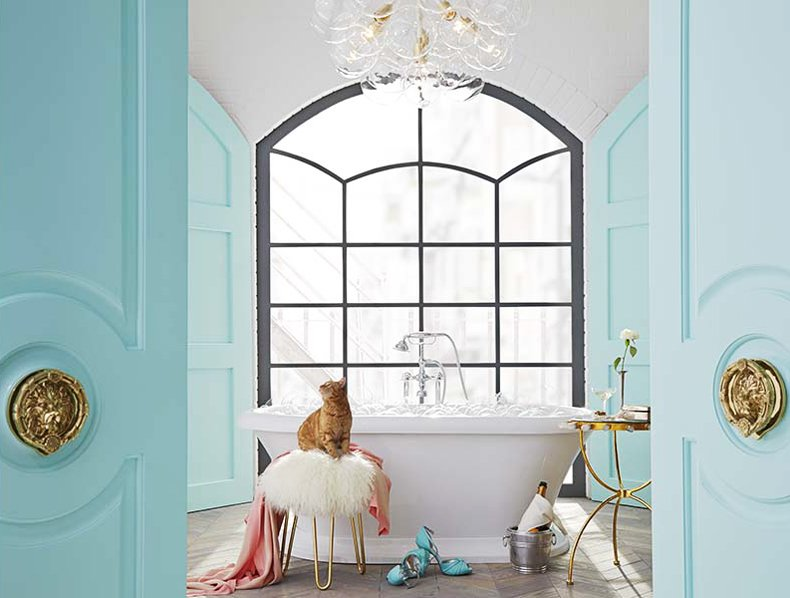 Bathroom inspired by Tiffany blue by Lisa Mende Design via @thouswellblog