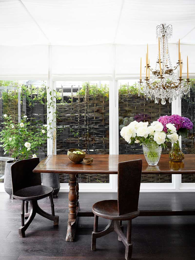 Eclectic dining room beside the garden via @thouswellblog
