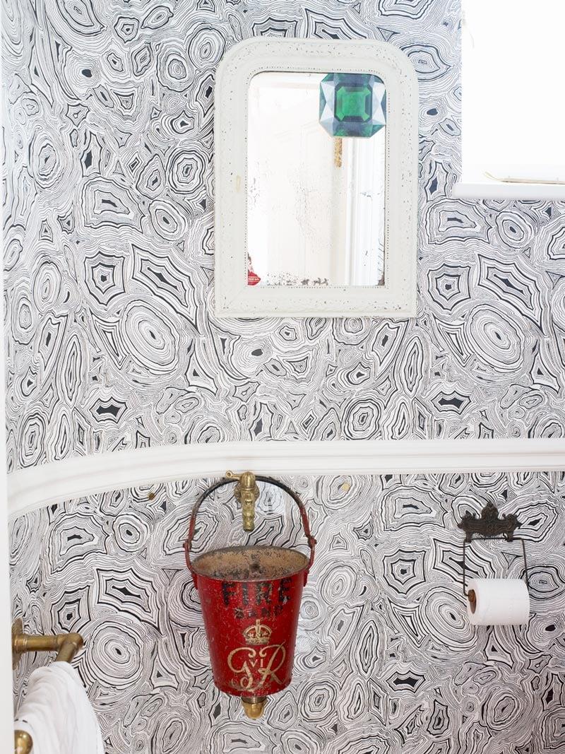 Bathroom wallpaper in elegant London townhouse via @thouswellblog