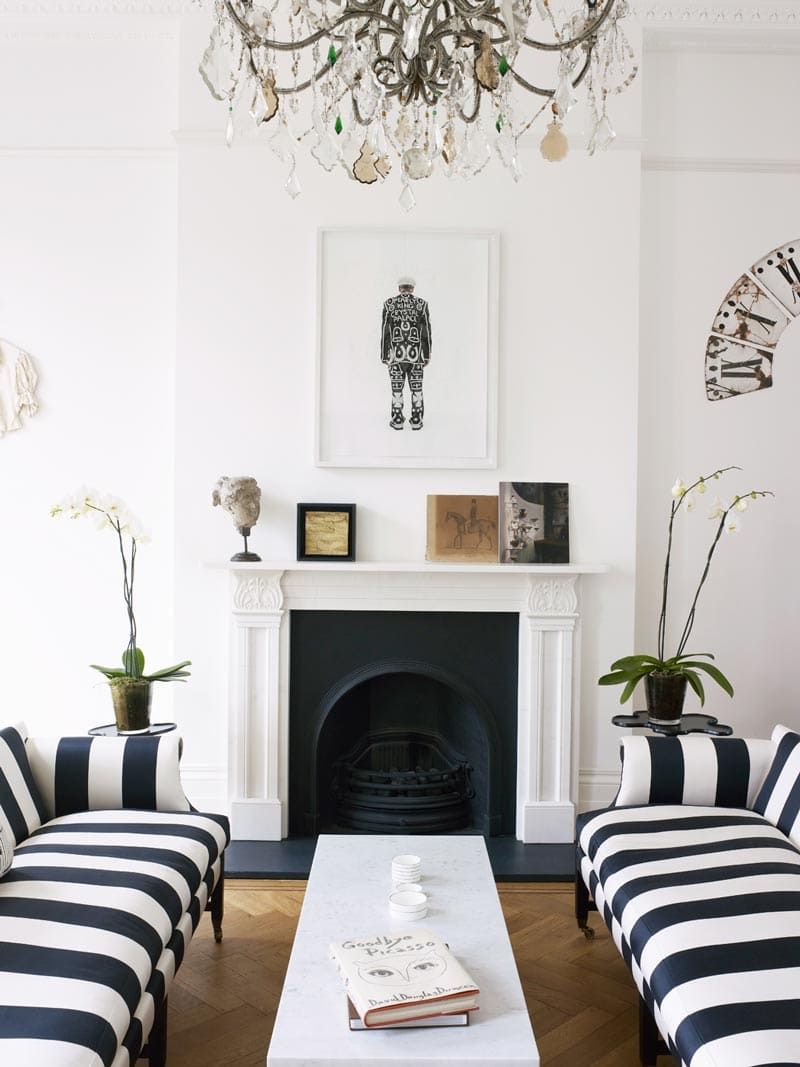 Black and white striped sofas in a London townhouse via @thouswellblog