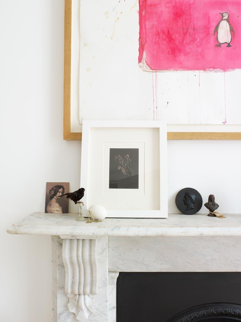 Playful, elegant decorating on the fireplace mantel via @thouswellblog