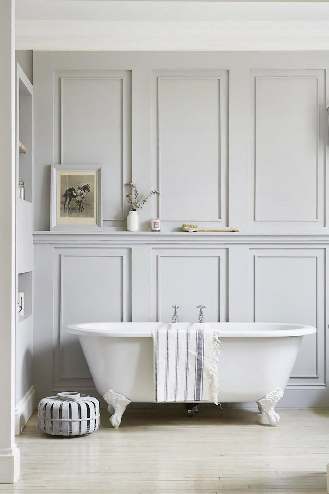 Gray bathroom with wall paneling and crown molding via @thouswellblog