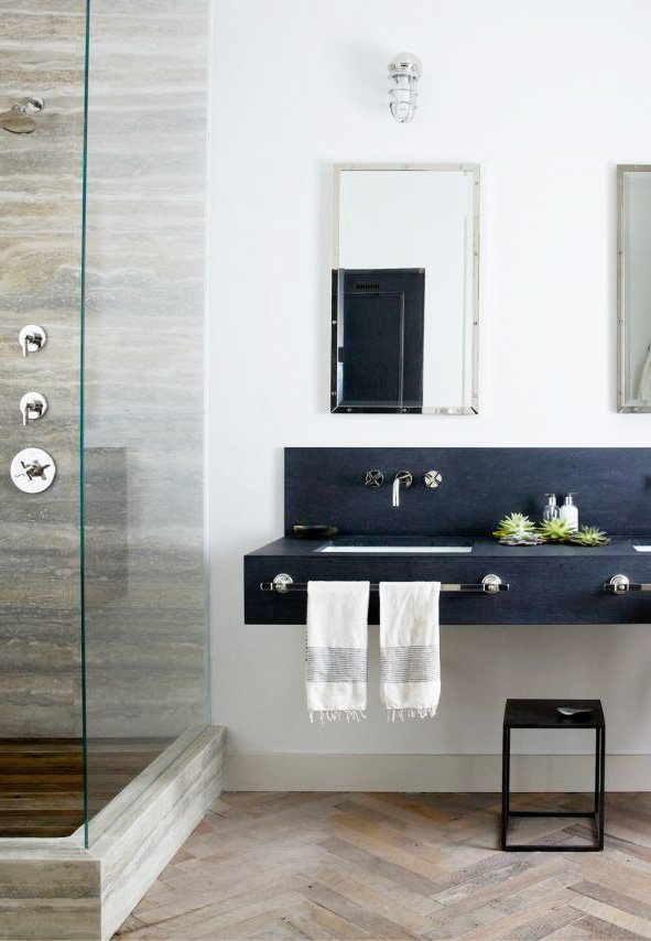 Modern bathroom with slate sink in a Soho loft via @thouswellblog
