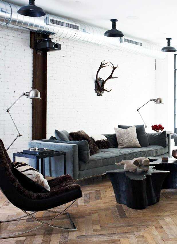 Rustic modern living room in a masculine Soho loft via @thouswellblog