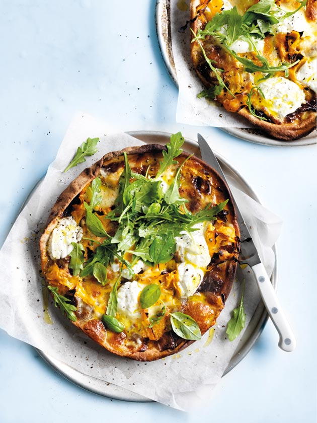 Pumpkin and mozzarella pizza via Donna Hay on Thou Swell