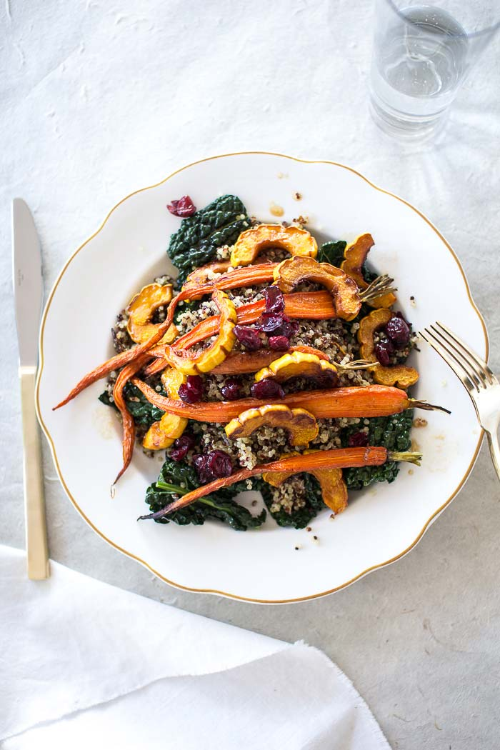 Delicata and kale quinoa salad via Flourishing Foodie on Thou Swell