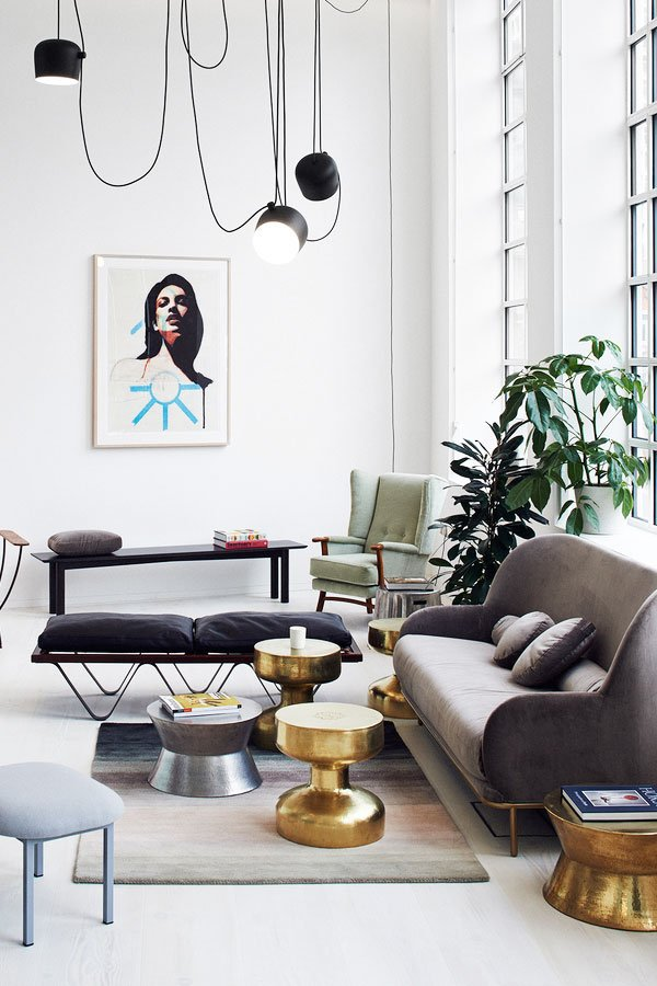 Modern loft living room arrangement via Thou Swell