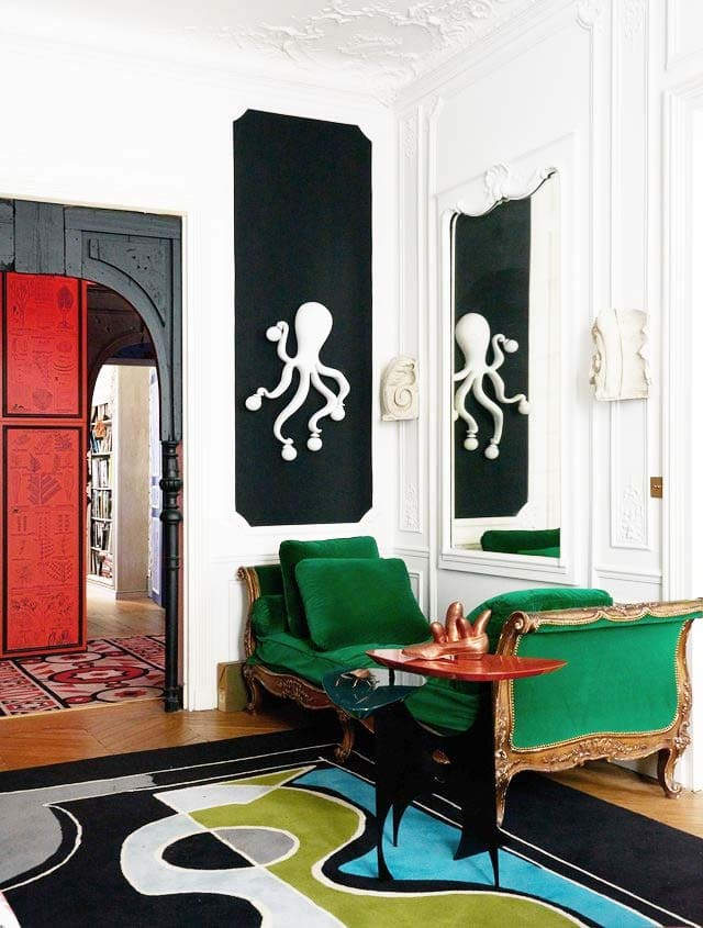 Green daybed in an eclectic French apartment via Thou Swell