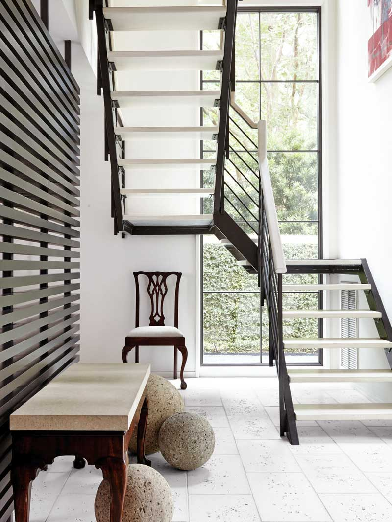Modern staircase and entry design, Southern home tour via Thou Swell