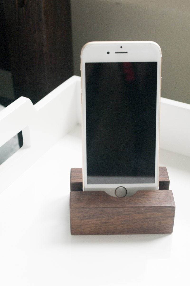 Modernica bentwood tray table in ash and phone stand in walnut on Thou Swell