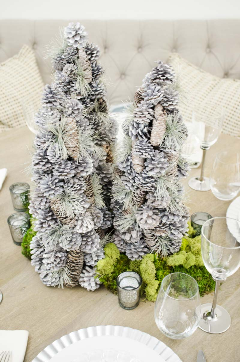 Simple silver holiday tablescape via Thou Swell