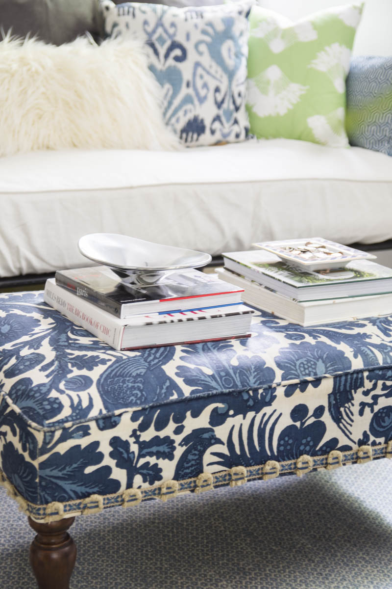 Vintage blue patterned ottoman on Thou Swell