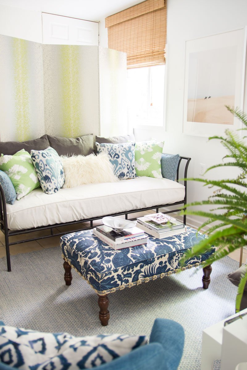 Blue and green guest room design with folding screen on Thou Swell