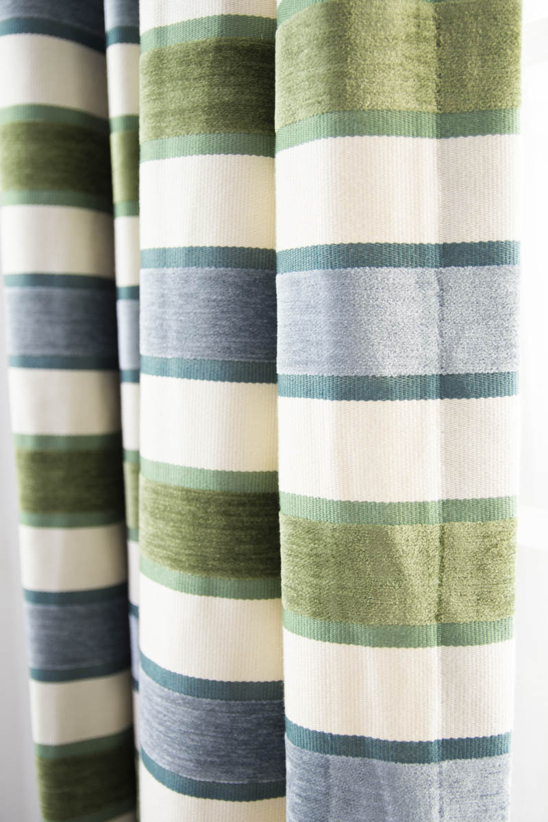 Robert Allen High Lo Moss Stripe fabric curtains on Thou Swell
