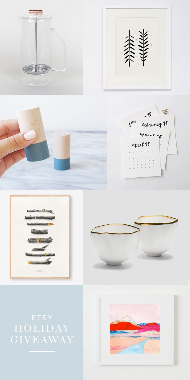 Etsy holiday giveaway with home decor, art prints, pottery, and a French press on Thou Swell