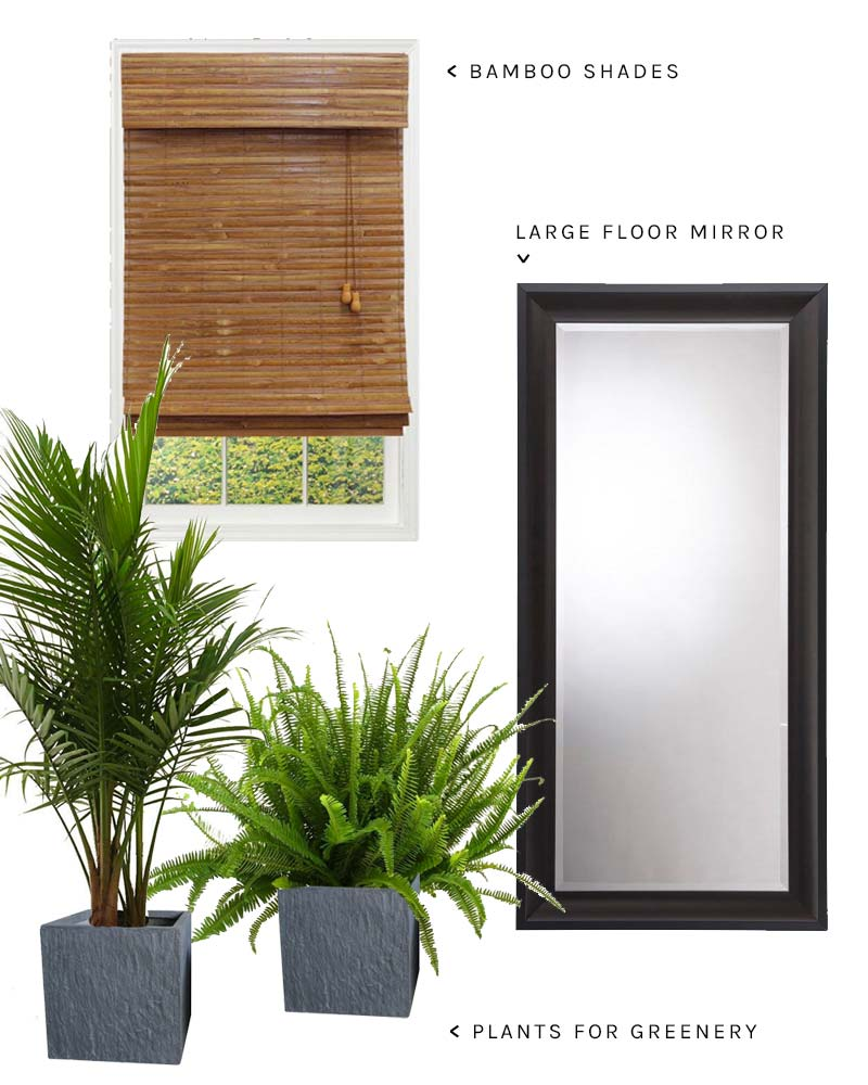 Bamboo shades, floor mirror, and plants for a guest room on Thou Swell