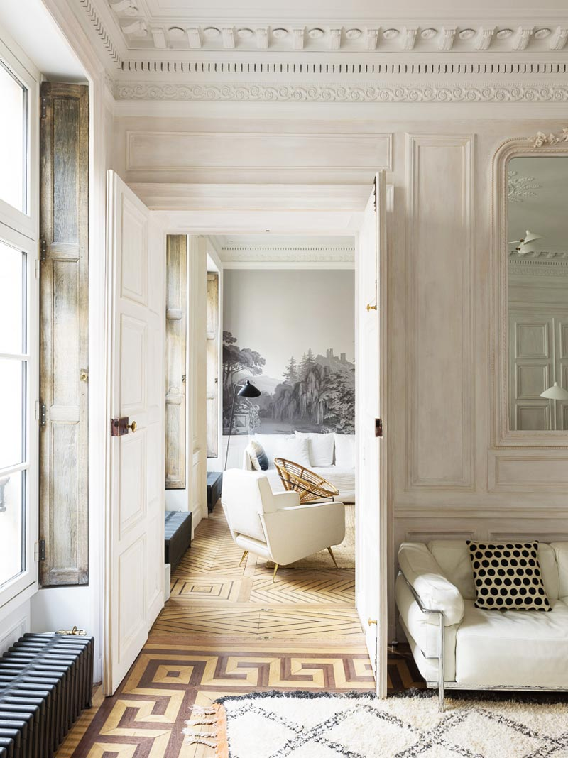 Natural finishes and neutral colors in a modern Paris apartment on Thou Swell